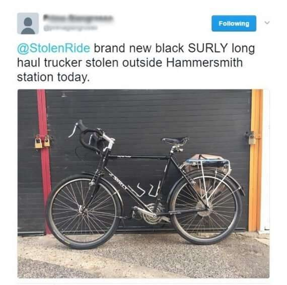 Recovered stolen bike via Twitter