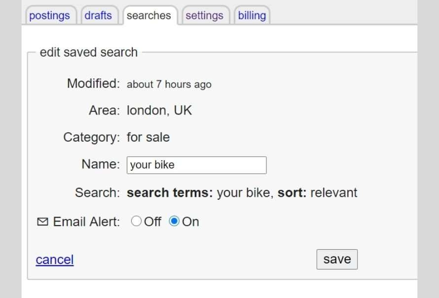 Craigslist saved searches