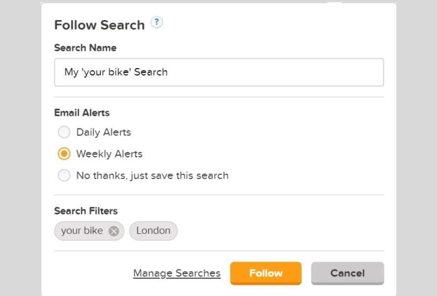 Preloved search alerts
